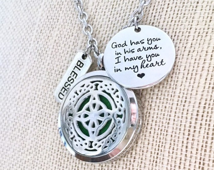 Diffuser Necklace, Essential Oils Locket, Aromatherapy Necklace, Celtic Knot Locket, Aromatherapy Necklace