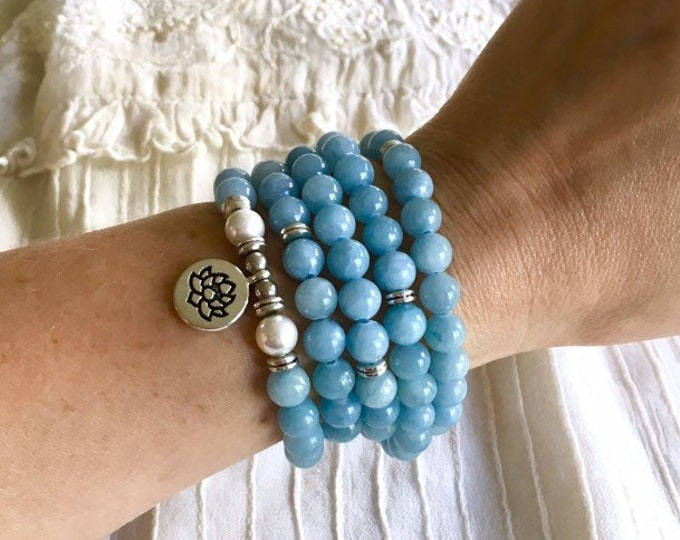 108 Mala Beads, Aquamarine Stretch Bracelet, Meditation Yoga Bracelet, Lotus Charm