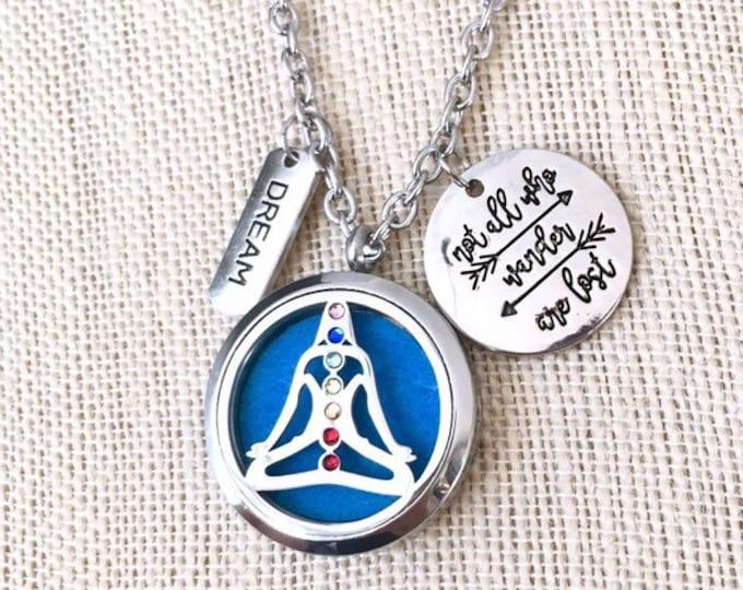 Diffuser Necklace, Chakras Aromatherapy Locket, Yoga Diffuser Locket, Essential Oils Necklace