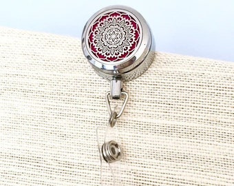 Badge Reel Holder Diffuser, Aromatherapy Card ID Clip, Essential Oils Name Tag Clip On Locket