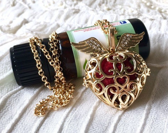 Diffuser Necklace, Aromatherapy Locket, Essential Oils Necklace, Heart Locket