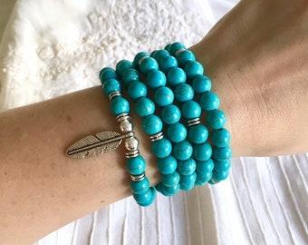 108 Mala Beads, Turquoise Stretch Bracelet, Meditation Yoga Bracelet, Prayer Beads