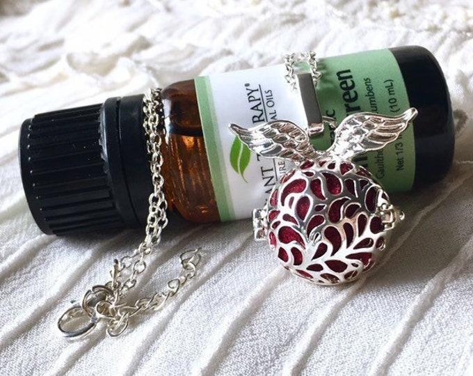 Essential Oils Necklace, Diffuser Locket, Aromatherapy Necklace, Angel Wings Pendant
