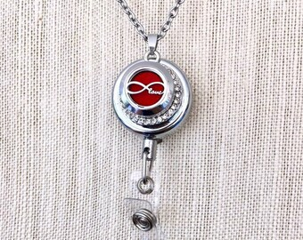 Essential Oils Locket Badge Holder, Snap Button Diffuser, ID Card Retractable Reel, Aromatherapy Snap Charm
