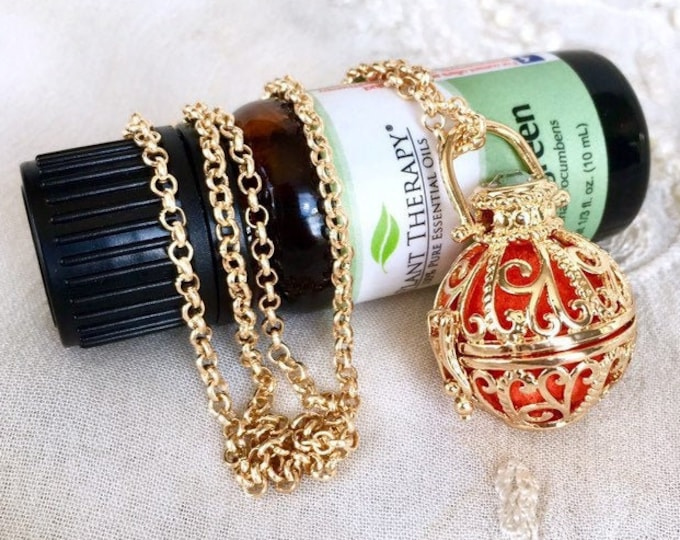 Essential Oils Locket, Diffuser Necklace, Aromatherapy Locket