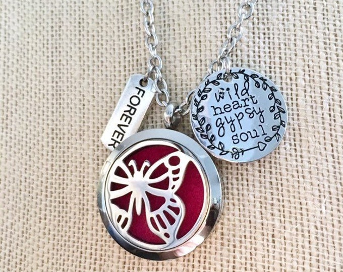Essential Oils Diffuser Necklace, Aromatherapy Locket, Butterfly Pendant Necklace