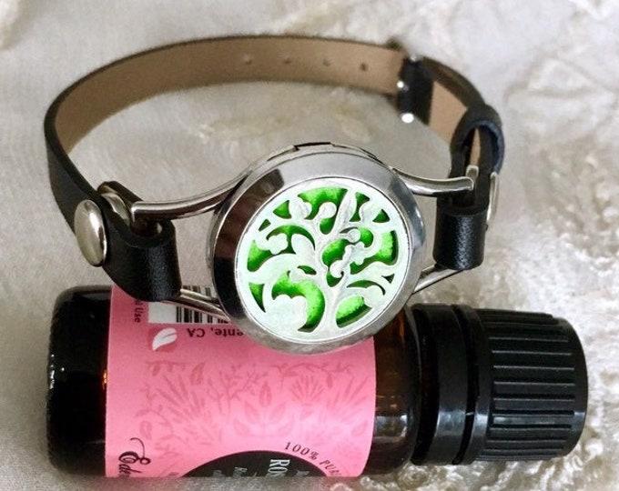 Essential Oils Bracelet, Diffuser Locket, Aromatherapy Bracelet, Leather Bracelet, Perfume Locket, Diffuser Bracelet