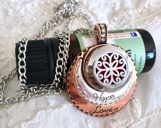 Aromatherapy Locket Necklace, Essential Oils Necklace, Snap Button, Diffuser Locket