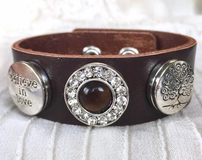 Snap Button Bracelet, Noosa Style Bracelet, Snap Buttons, Snap Chunks, Brown Lether