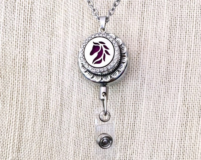 Aromatherapy Badge Holder, Pull Reel ID Card Holder, Diffuser Snap Button, Essential Oils Locket