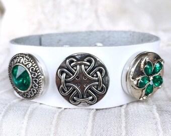 Snap Button Bracelet, White Leather Bracelet, Green Noosa Snaps, Snap Charms