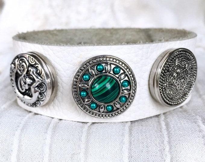 Noosa Style Bracelet, White Leather Bracelet, Noosa Snaps, Ginger Snaps, Snap Chunks, Snap Buttons,