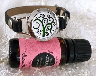 Essential Oils Diffuser Bracelet, Black Leather Bracelet, Aromatherapy Locket Bracelet, Scent Diffuser Locket
