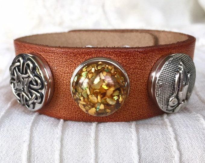 Light Brown Bracelet, Noosa Buttons, Ginger Snap, Snap Chunks, Leather Bracelet, Brown Leather
