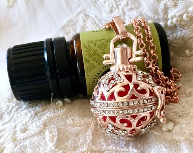 Gold Diffuser Locket, Aromatherapy Necklace, Essential Oils Cage Locket, Gold Locket Necklace
