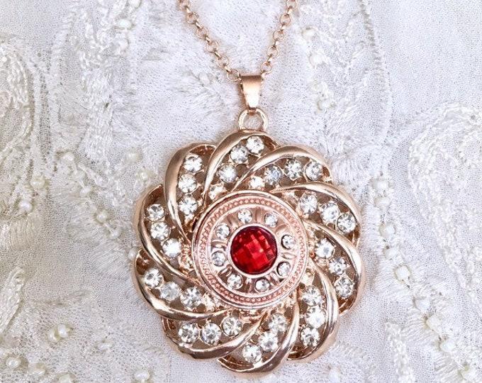 Rose Gold Snap Button Necklace, Charm Snap Pendant, Charm Necklace