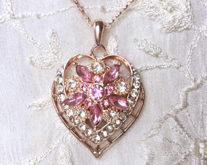 Rose Gold Necklace, Snap Button Pendant, Snap Charm
