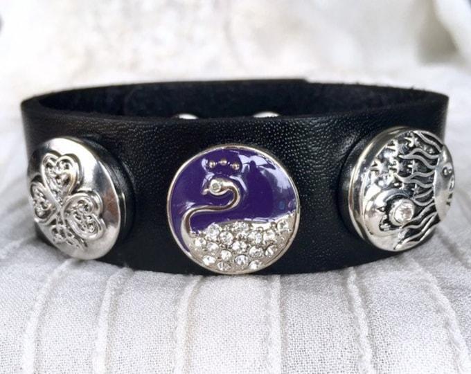 Noosa Style Bracelet, Black Leather Bracelet, Noosa Chunks, Snap Buttons, Charm Bracelet