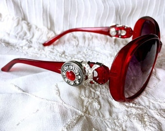Red Sunglasses, Snap Button Sunglasses, Snap Charms, Noosa Style Snaps