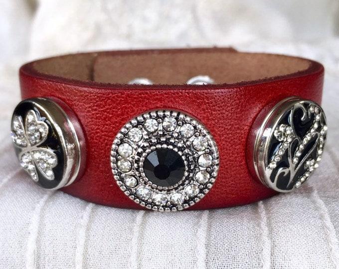 Noosa Style Bracelet, Red Leather Bracelet, Snap Buttons, Noosa Chunks, Charm Bracelet