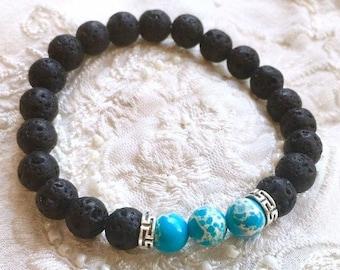 Black Lava Stone Bracelet, Aromatherapy Bracelet, Diffuser Bracelet, Essential Oils Bracelet