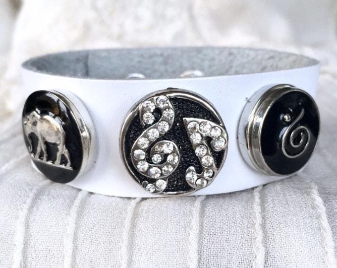 Noosa Style Bracelet, Elephant Charm, White Leather Bracelet, Snap Buttons, Noosa Chunks, Charm Bracelet