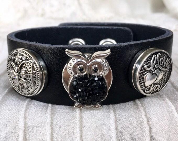 Black Leather Bracelet, Noosa Style Bracelet, Snap Buttons, Snap Chunks, Charm Bracelet