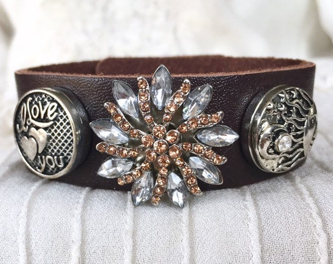 Noosa Style Bracelet, Leather Bracelet, Snap Charms, Brown Leather, Snap Buttons, Chunks