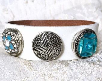 Noosa Style Bracelet, Turquoise Charm, Snap Chunks, Ginger Snaps, White Leather Bracelet, Snap Buttons, Charm Bracelet