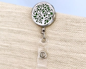 Badge Reel Holder, ID Card Clip Diffuser, Aromatherapy Locket, Essential Oils Clip On, Tree of Life
