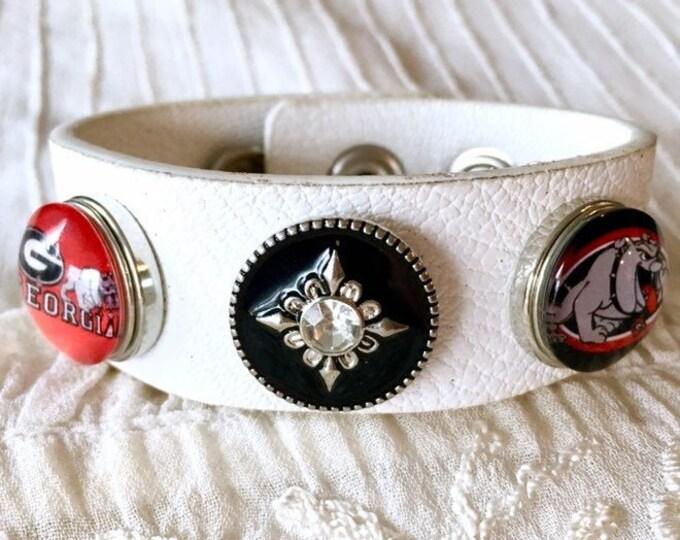 Noosa Style Bracelet, White Leather Bracelet, UGA, Ginger Snaps, Snap Buttons, Noosa Chunks, Bulldogs