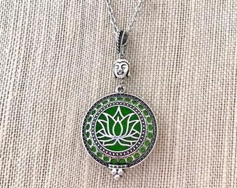 Aromatherapy Locket, Lotus Essential Oils Necklace,Diffuser Locket, Perfume Necklace, Diffuser Necklace