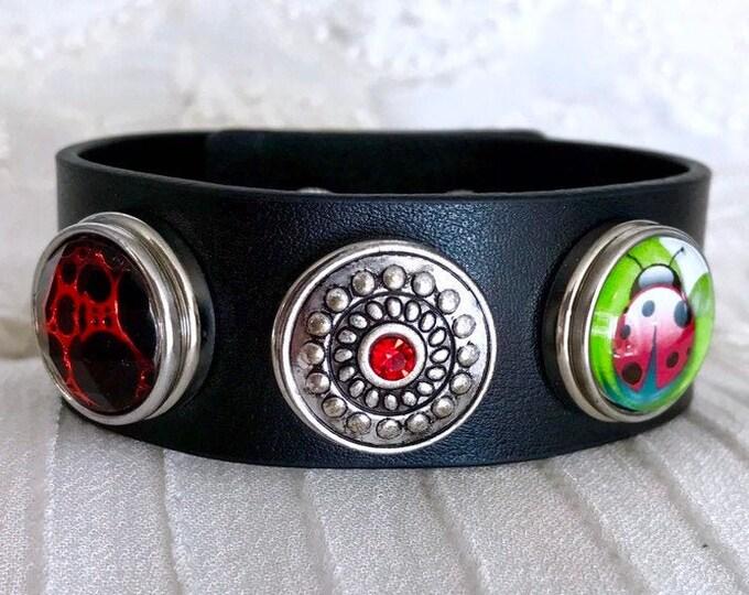 Noosa Style Bracelet, Black Leather Bracelet, Snap Buttons, Snap Charms, Chunks, Ladybug Snap, Charm Bracelet