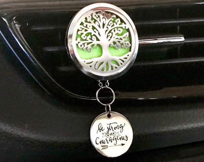 Car Essential Oils Diffuser, 38mm Large Aromatherapy Locket with Charms, Tree of Life Car Scent Diffuser