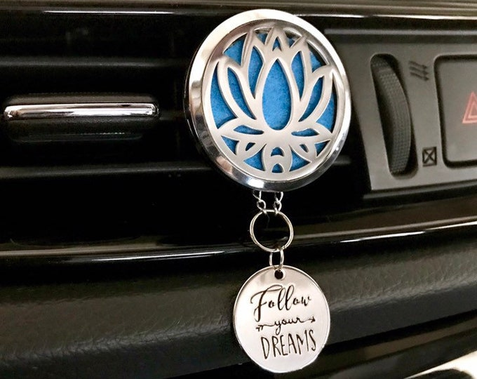 Car Essential Oils Diffuser, 38mm Large Aromatherapy Locket with Charms, Lotus Car Scent Diffuser