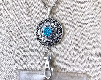 Snap Button Necklace Badge Holder, Noosa Style Snap Button ID Card Holder, Snap Charms