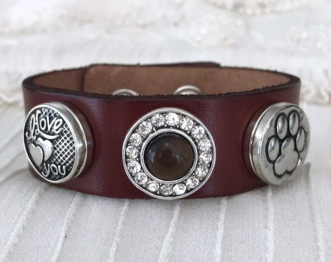 Noosa Style Charm Bracelet, Brown Leather, Snap Charms, Snap Buttons, Leather Bracelet