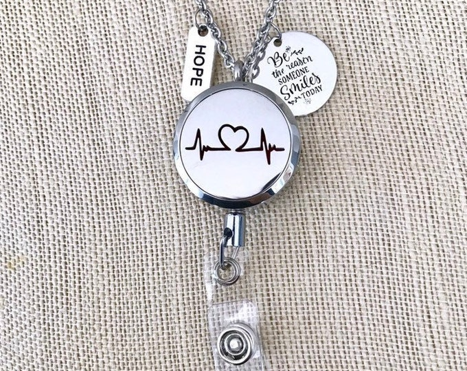 New Style Badge Reel Holder, ID Card Clip Diffuser, Necklace Aromatherapy Locket, Essential Oils Clip On