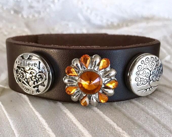Snap Button Bracelet, Leather Bracelet, Brown Charm Bracelet, Love Snap, Snap Chunks