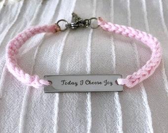 Crochet Charm Bracelet, Knitted Inspirational Bracelet, Braided Boho Fabric Jewelry