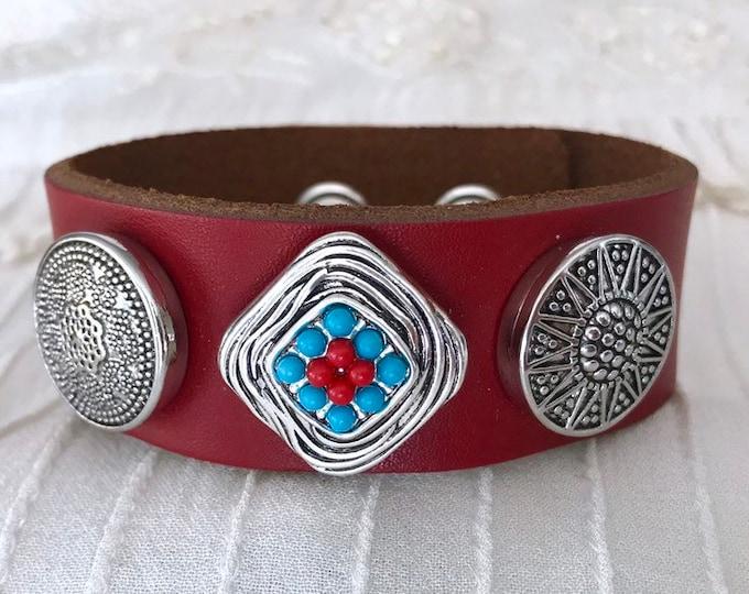 Noosa Style Charm Bracelet, Snap Button Bracelet, Snap Chunks, Red Leather