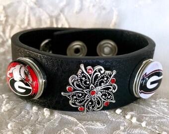 Snap Bracelet, Leather Bracelet, Snap Charms, Snap Button, UGA Noosa Style Bracelet