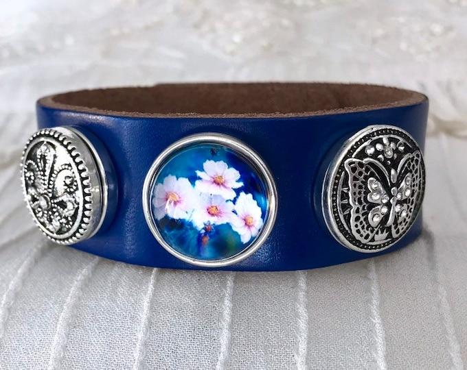 Snap Button Charm Bracelet, Blue Leather Noosa Style Bracelet, Chunks
