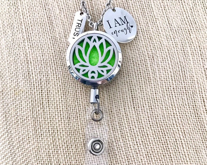 New Style Badge Reel Holder, Lotus ID Card Clip Diffuser, Necklace Aromatherapy Locket, Essential Oils Clip On