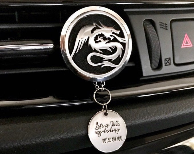 Car Essential Oils Diffuser, 38mm Large Aromatherapy Locket with Charms, Dragon Car Scent Diffuser