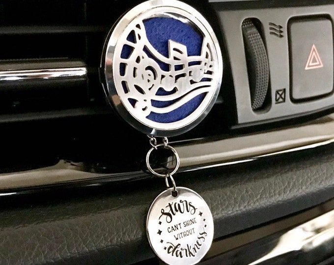 Car Essential Oils Diffuser, 38mm Large Aromatherapy Locket with Charms, Music Note Car Scent Diffuser
