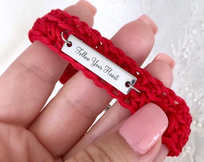 Crochet Charm Bracelet, Knitted Inspirational Bracelet, Boho Fabric Jewelry