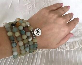 108 Mala Beads, Amazonite Stretch Bracelet, Meditation Yoga Bracelet, Lotus Charm