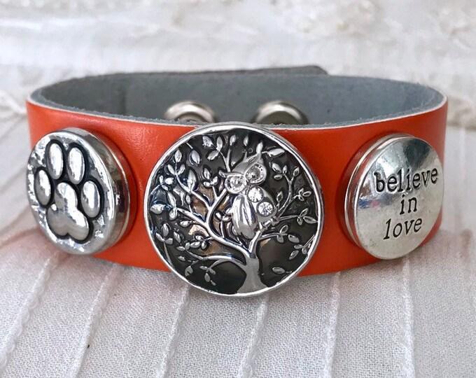 Noosa Style Charm Bracelet, Orange Leather, Snap Charms, Snap Buttons, Leather Bracelet