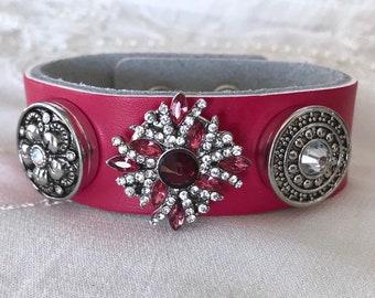 Pink Leather Bracelet, Noosa style Bracelet, Snap Buttons, Noosa Snaps, Snap Chunks, Snap Charm Bracelet